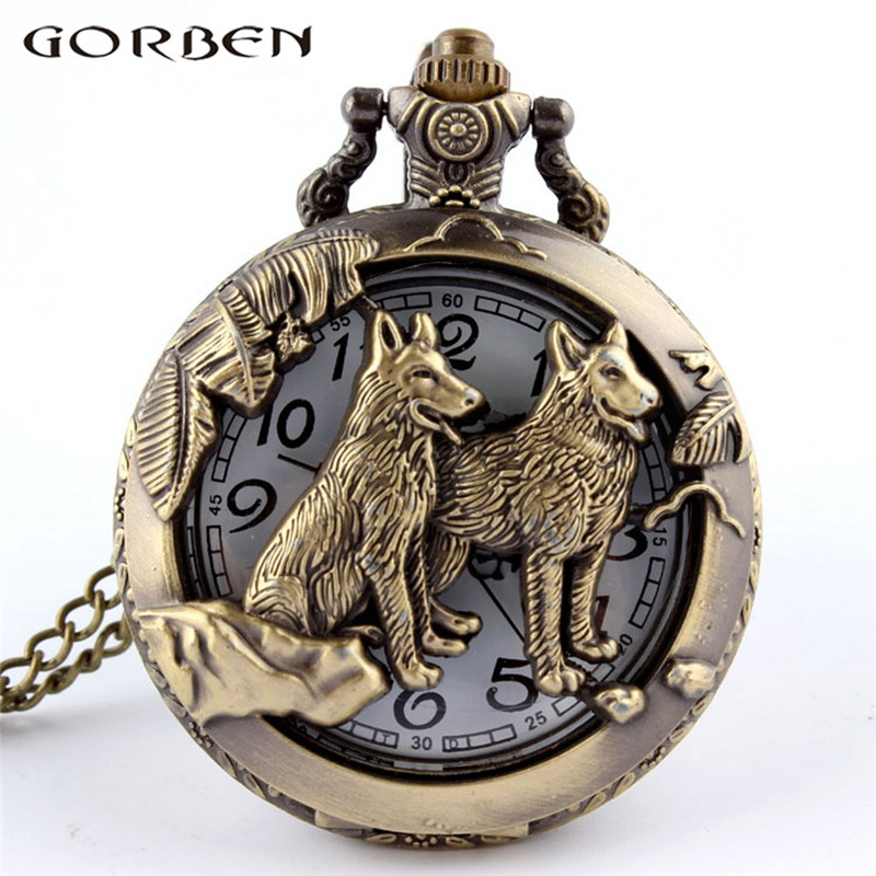 Vintage Bronze Chinese Zodiac Dog Wolf Pocket Watch Necklace Women Men Hollow Cute Stationary Quartz Chain Pendant Style Gift