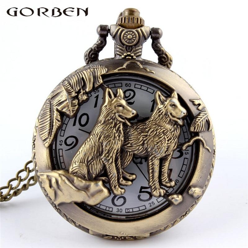 Vintage Bronze Chinese Zodiac Dog Wolf Pocket Watch Necklace Women Men Hollow Cute Stationary Quartz Chain Pendant Style Gift