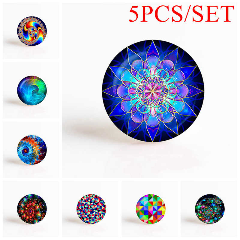 5 pièces/ensemble Art Fractal Mandala rond Photo camée résultats de bijoux ajustement 25mm blanc pendentif Bracelet broche femmes Gifys