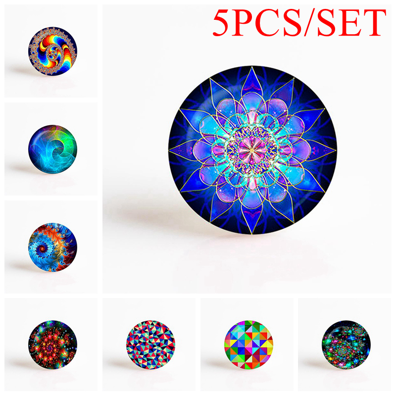5PCS/SET Fractal Art Mandala Round Photo Cameo Jewelry Findings Fit 25mm Blank Pendant Bracelet Brooch Women Gifys