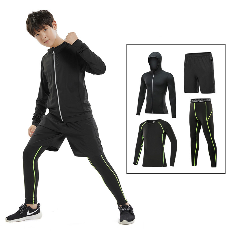 0c92d51140b4d9 2018 New Quick Dry Kids Running Sets 4pcs/sets Compression Sport Suits  Basketball Tights Clothes. US $37.43. Men's 3 ...
