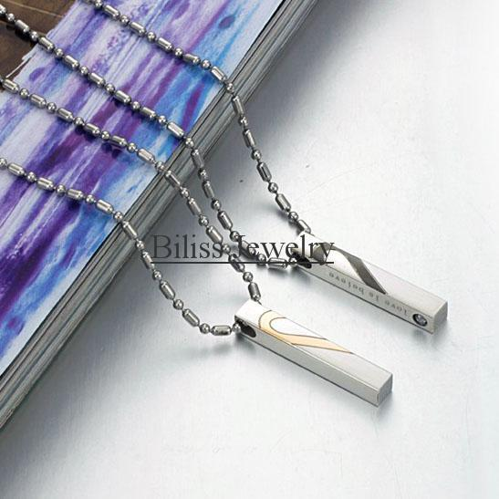 """2 piece 2014 New Fashion NEW ARRIVAL Couple Necklace With Rhinestone """"Love is Believe"""", Half Heart Couples Necklace"""