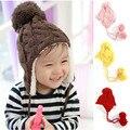 Chapéu do bebê Crianças Malha Chapéus Crianças Inverno Quente Cap Crochet Meninas meninos Beanie Bomber Crianças Orelha Chapéu Feito Malha Menino Menina Tampas de Bola