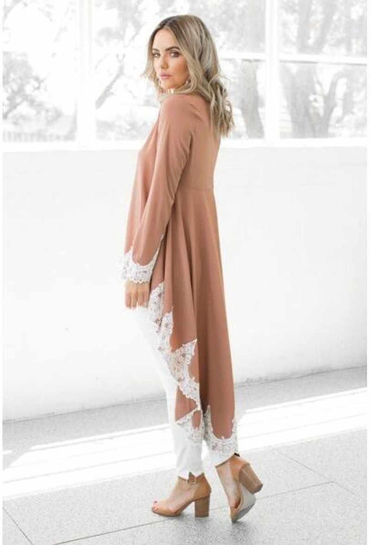 קוריאני אמיתי פוליאסטר Unicorn מיהר Kpop נשים של משלוח חינם 2019 סתיו סדיר תחרה תפרים ארוך שרוולים חולצה נשים