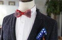 New Free Shipping fashion Men's male woman necktie bow wedding groom groomsman Pink Polka Dot tie feather married Headdress