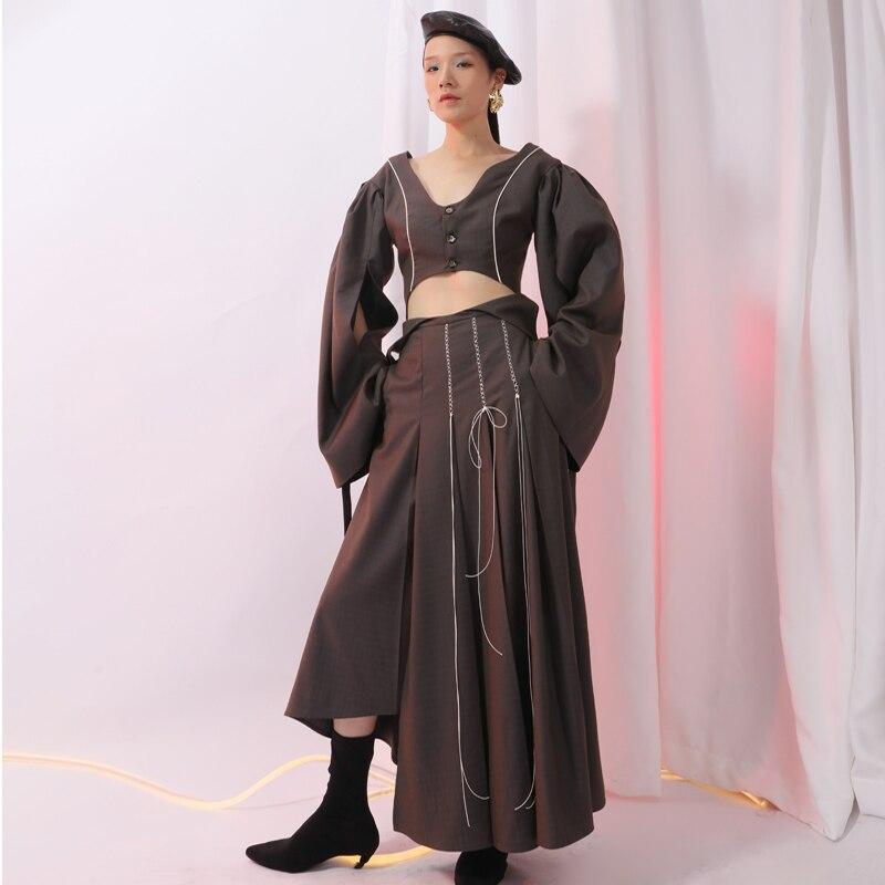 V Coatfashion Nouveau Eam Hiver Manches Wkoud Évider Ji329 Sexy Femmes Veste col Plaid 2018 Automne Brown Long Courte Flare Marée 1XEa1xqfw