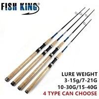 FISH KING CW. 3-40G Wood Handle Sea Fishing Spinning Rod 2.1m 2 Section Ultra Light Carbon Fiber Saltwater Spinning Fishing Rod