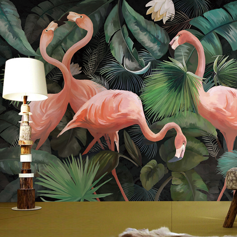 Personalizado 3d foto papel de parede estéreo pintados à mão flamingo restaurante sala crianças jardim zoológico sala estar papel de parede