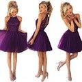 De Calidad superior 2017 de Color Púrpura Corto de Baile Vestidos de Gasa Cuentas Cabestro Pageant Vestidos Tallas grandes Vestido de Noche Vestidos De Festa Curto