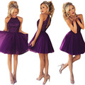 Top Quality 2017 Short Purple Prom Dresses Halter Chiffon Beads Pageant Dresses Plus Size Evening Gown Vestidos De Festa Curto