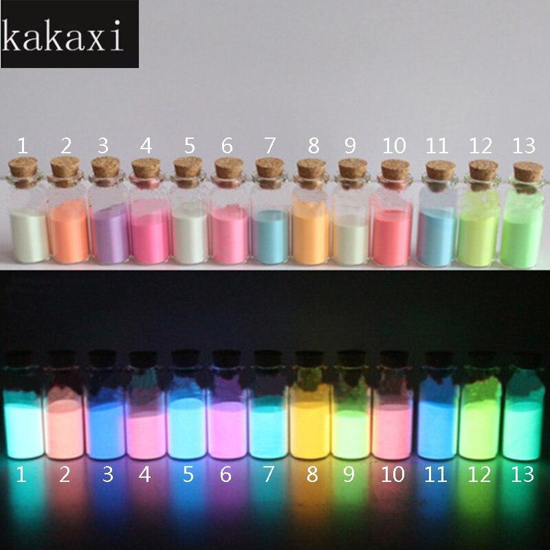 Kakaxi 10 גרם\יחידה העיניים גליטר אבק ציפוי זוהר Photoluminescent DIY זרחן, זוהר בחושך עין אבקת פיגמנט הקרינה