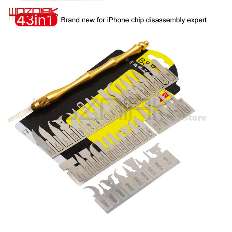 Wozniak 43in1 BGA Maintenance Knife For iPhone CPU NAND CHIP IC Remove Glue Disassemble Rework BladeWozniak 43in1 BGA Maintenance Knife For iPhone CPU NAND CHIP IC Remove Glue Disassemble Rework Blade