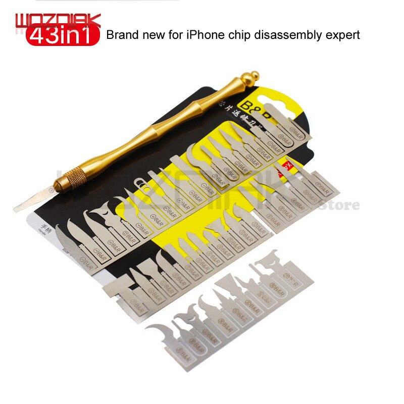 Wozniak 43in1 BGA Maintenance Knife For iPhone CPU NAND CHIP IC Remove Glue Disassemble Rework Blade