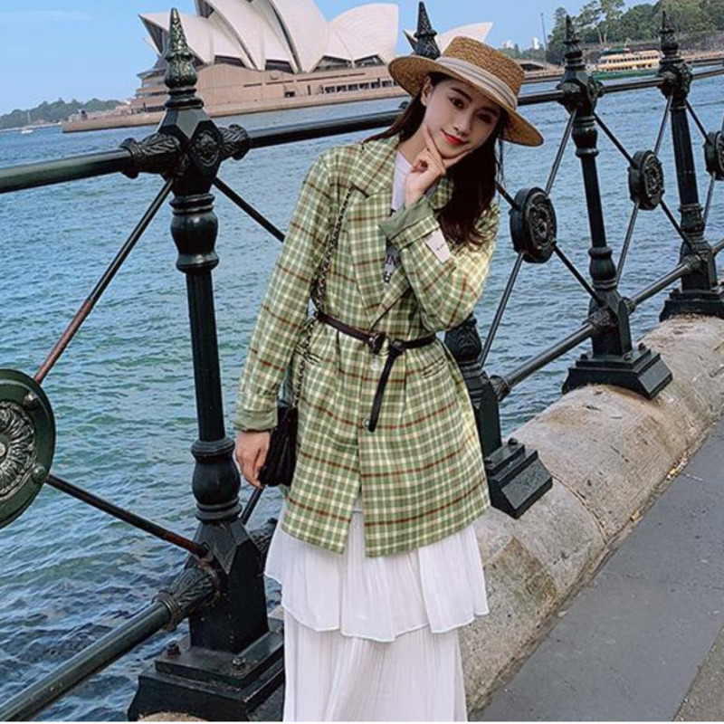LANMREM 2020 New Spring Long-sleeved Single-breasted Suit Collar Blazers For Women Plaid Casual Jacket All-match Tide QF185