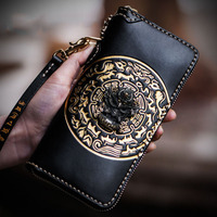 Snow Tibet handmade secret auspicious character pattern men wallets long zipper calfskin carving womens wallets and coin purses