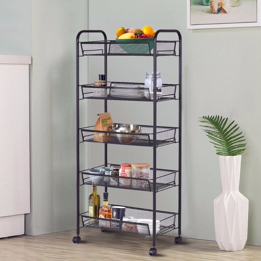 все цены на Giantex 5 Tier Mesh Rolling File Utility Cart Home Portable Trolley Organizer Office Kitchen Storage Basket HW54963BK онлайн