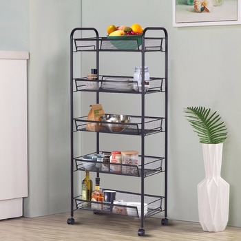 Giantex 5 Tier Mesh Rolling File Utility Cart Home Portable Trolley Organizer Office Kitchen Storage Basket HW54963BK