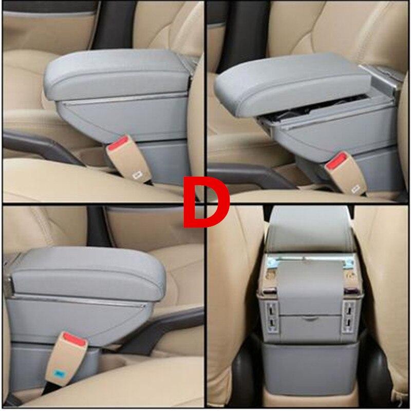 Для Volkswagen Polo подлокотник коробка Polo V Универсальный 2009- Автомобильная центральная консоль Модификация аксессуары двойной приподнятый с USB - Название цвета: D style gray