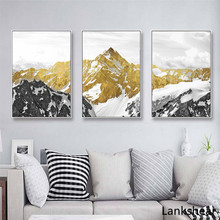 Golden Snow Mountain Abstract Wall Art Print Canvas Painting Decorative Picture For Home Decoration Poster