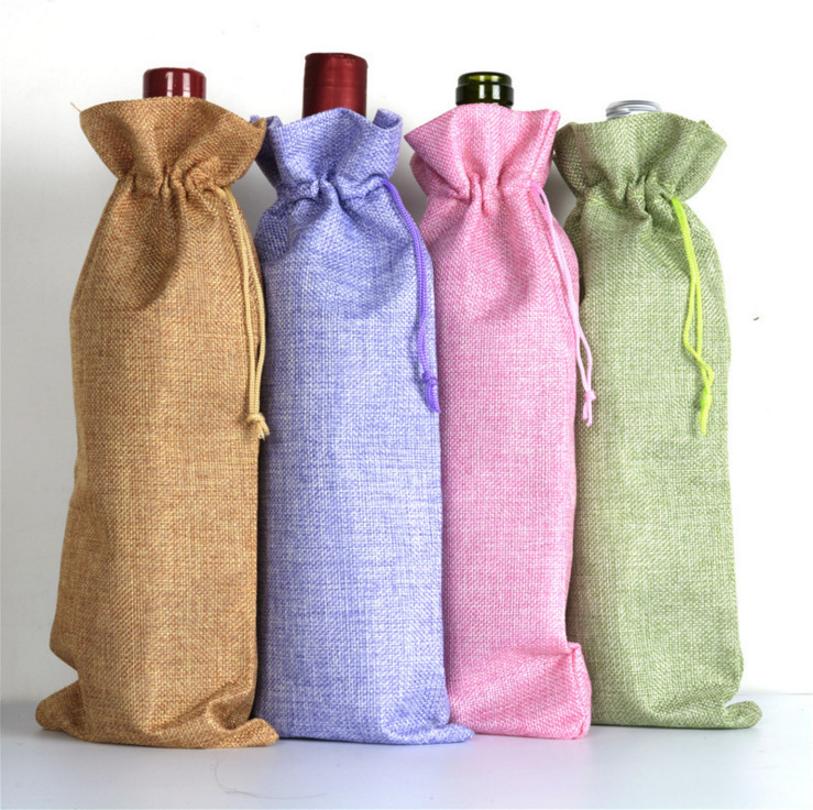 200pcs Jute Wine Bottle Bags 16cmx36cm Champagne Bottle Covers Linen Gift Pouches Burlap Hessian Packaging Bag Lin3493