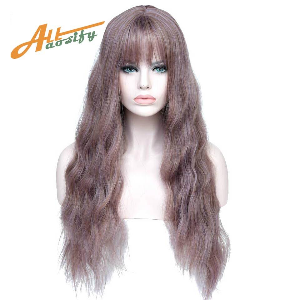 11 Farben Wellig Frauen Perücke Hohe Temperatur Faser Synthetische Haarteil Lange Haar Cosplay Perücken Allaosify