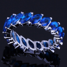 Delicate Blue Cubic Zirconia 925 Sterling Silver Ring For Women V0121 delicate beads hollow ring for women