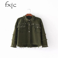 Europe And The United States Wind 2018 Autumn New Fashion Burly Army Green Black Rivet Denim