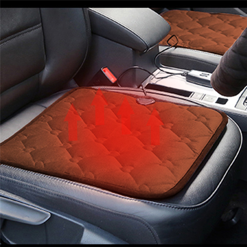 Winter Car Heated Cushion fice Chairs Electric Heated Black Coffee Color Seat Cushion Carbon Fiber Electric