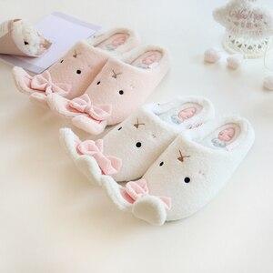 Image 4 - ¡Nuevo! Zapatillas de invierno Millffy con conejo adorable y cálido, zapatos antideslizantes para el dormitorio