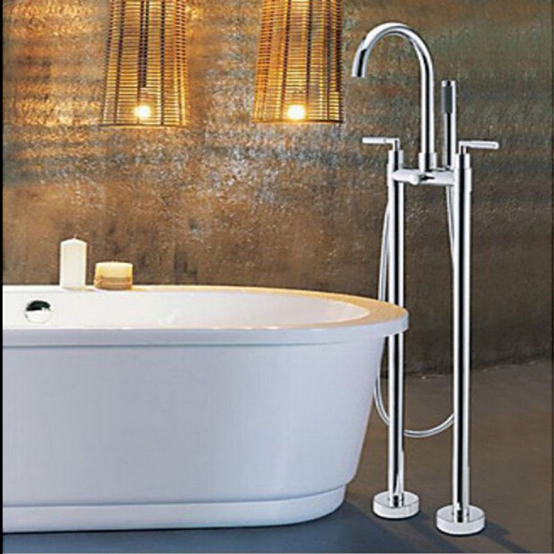 Wholesale And Retail Floor Mounted Free Standing Chrome Bathtub Mixer Tap Faucet W/Hand Shower 2 Legs
