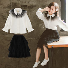 Teen Girls Clothing Set White Blouses Shirts + Skirts Kids Clothes Children Costume 2019 Autumn Girls Outfits 6 8 10 12 14 Year(China)