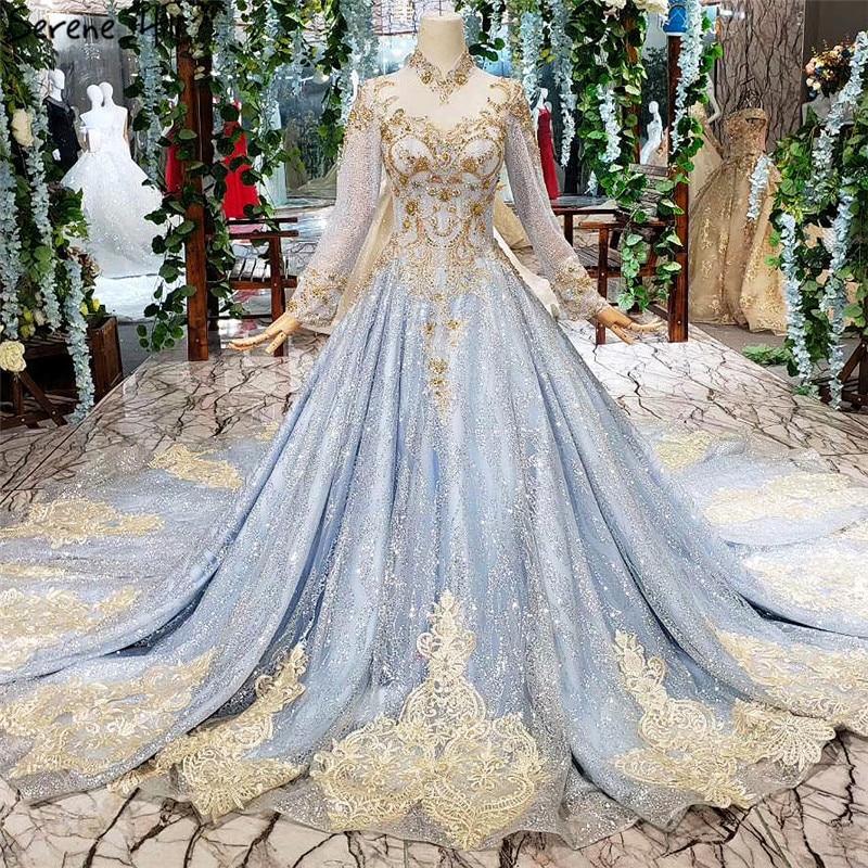 Real Retro Weddings: Blue Luxury High Neck Glitter Wedding Dresses 2019 Long