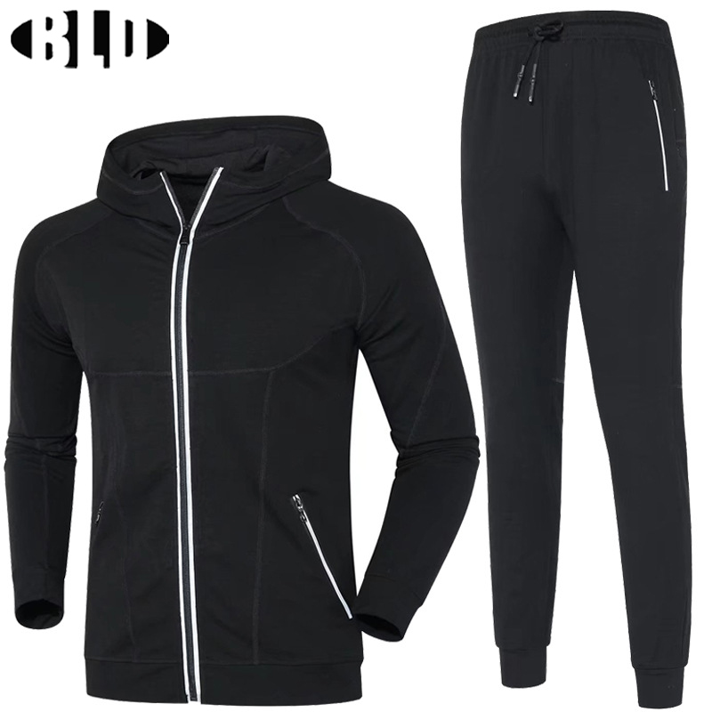 BLD Sports Suit for Men Running Jacket and Training Pants Sport Set Cardigan Hooded Thicker Warm Running Suits Gym Sportwear цены онлайн
