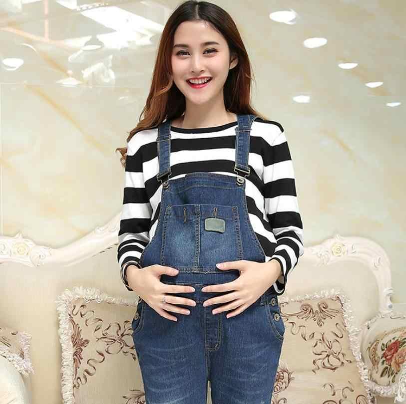 Джинсы Комбинезоны для беременных женщин Весна Осень Новые джинсы для беременных женщин большие размеры джинсовые штаны комбинезон с панталонами femme ws91