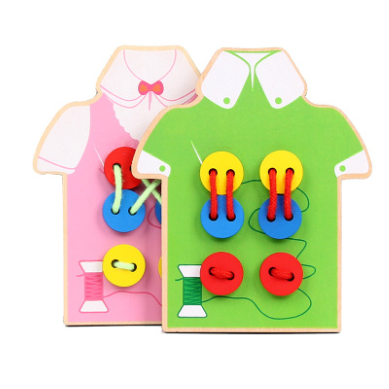 1PC Montessori Toys Educational Wooden Toys For Children Early Learning Beads Lacing Board Toddler Sew On Buttons Teaching Aids