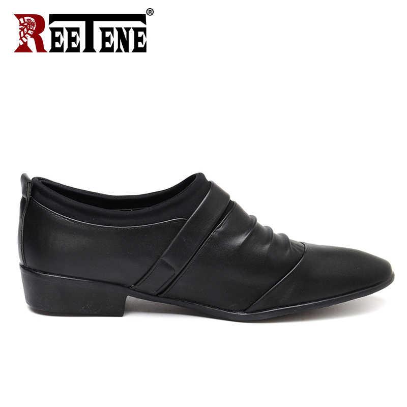 Reetene Бизнес работы мягкие Мужская обувь модные классические деловые мужские модельные туфли удобные дышащие Основные обувь Размер 38-48