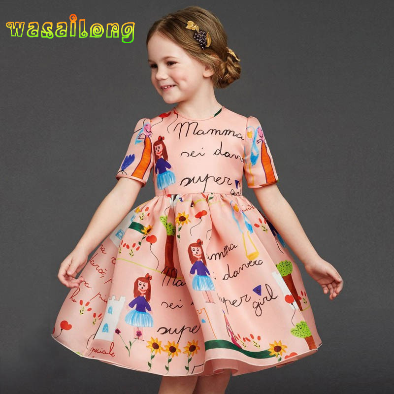 Retail 2017 girl dress High quality goods clothing Cartoon short sleeved summer autumn princess dresses