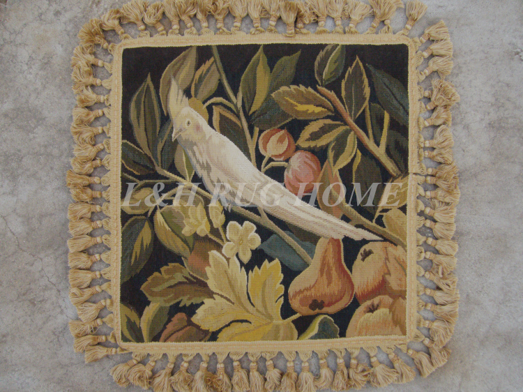 Free Shipping 18x18 Aubusson woolen cushion 100% New Zealand Wool handmade pillow for home decoration, NO INSERTION