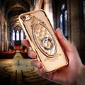 Anillo de lujo estuches para iphone 6 7 kisscase 6 plus 7 plus rhinestone delgado gel de recubrimiento para iphone7 6 splus titular Coque