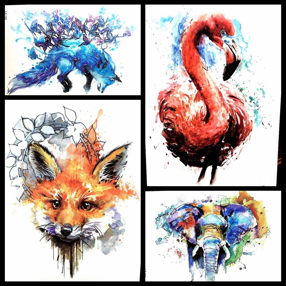 1PC Hot Flash Red Fox Tattoo Sleeve For Men Women Body Art Waterproof Wolf Clock Tatoo Decal Temporary Arm Tattoo Sticker HHB388