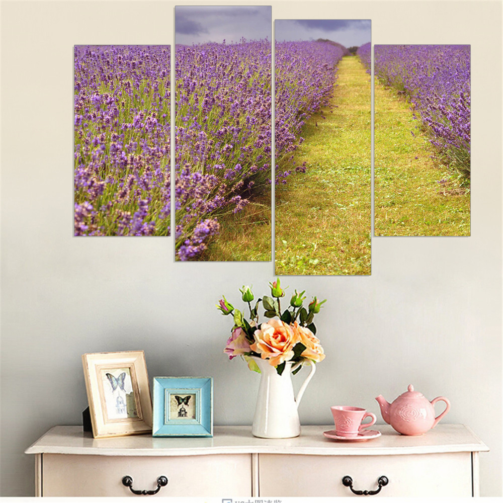 Purple Lavender Canvas Painting Provence Scenery Wall Art Poster Oil ...