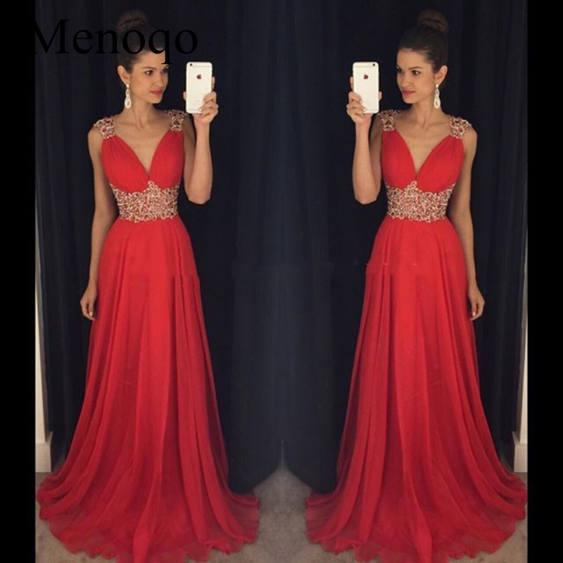 Red robe de bal Long   Prom     Dresses   For Graduation V-neck vestido de noche robe de soiree longue Formal Evening Party Gowns