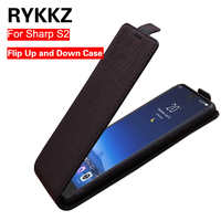 RYKKZ Genuine Leather Flip Up and Down Case Cover For Sharp Aquos S2 Protective Mobile Phone Stand Case Leather Cover For FS801