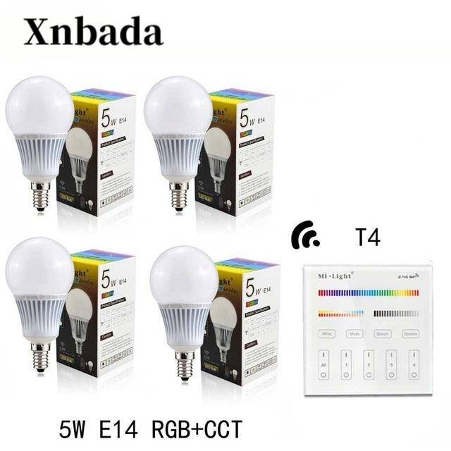 Ampoule Led RGB + CCT MiLight 5 W E14 lampe à Led + T4 (110 V/220 V) lumière Led à distance projecteur à lumière tamisée AC85-265V livraison gratuite
