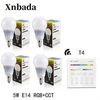 RGB+CCT Led bulb MiLight 5W E14 Led Lamp +T4(110V/220V) Remote Led light DimmableLed Spotlight light AC85 265V Free shipping
