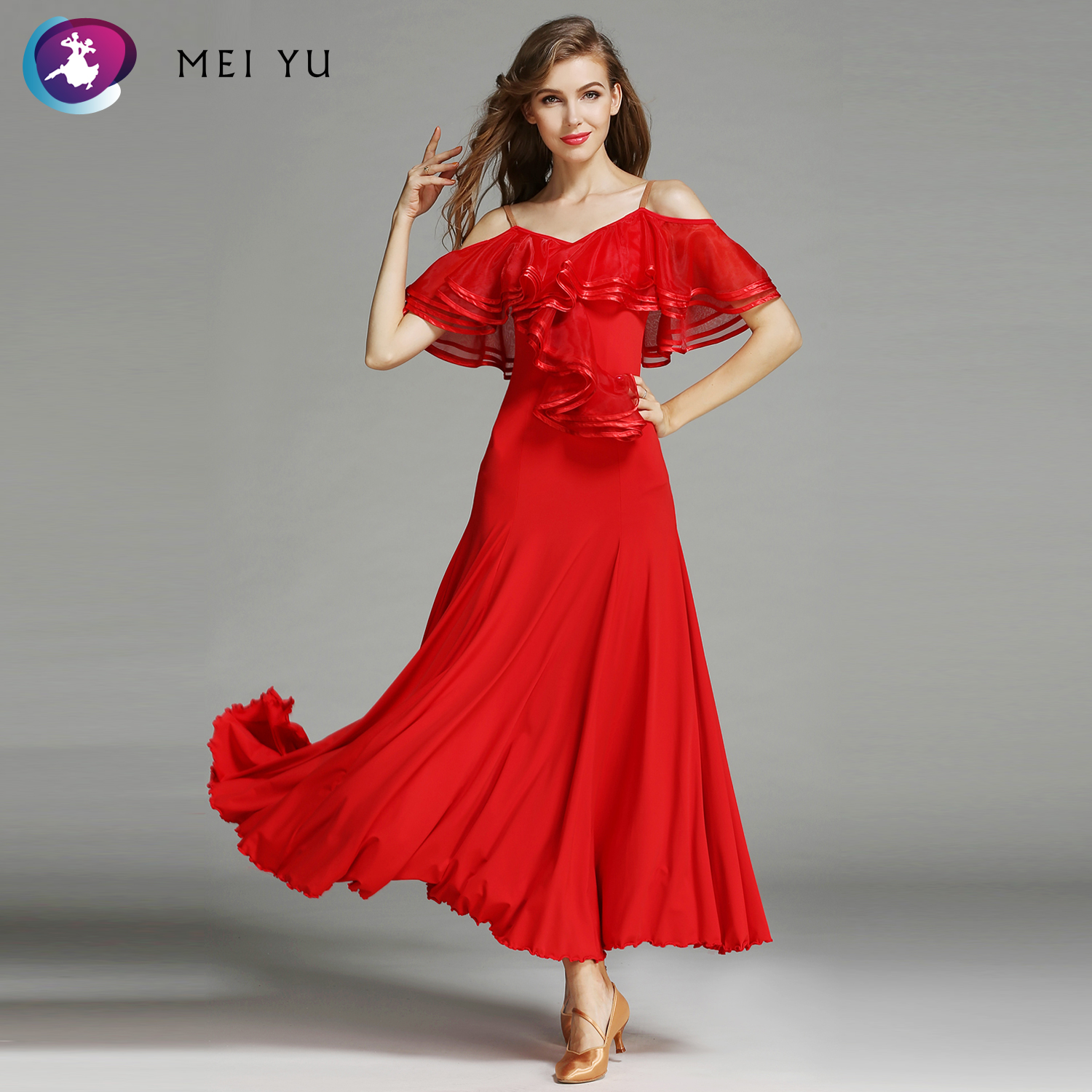 Ballroom Mei Yu Hb675 Modern Dance Costume Women Lady Adult Waltzing Tango See-through Dancing Dress Ballroom Costume Evening Party Dress Novelty & Special Use
