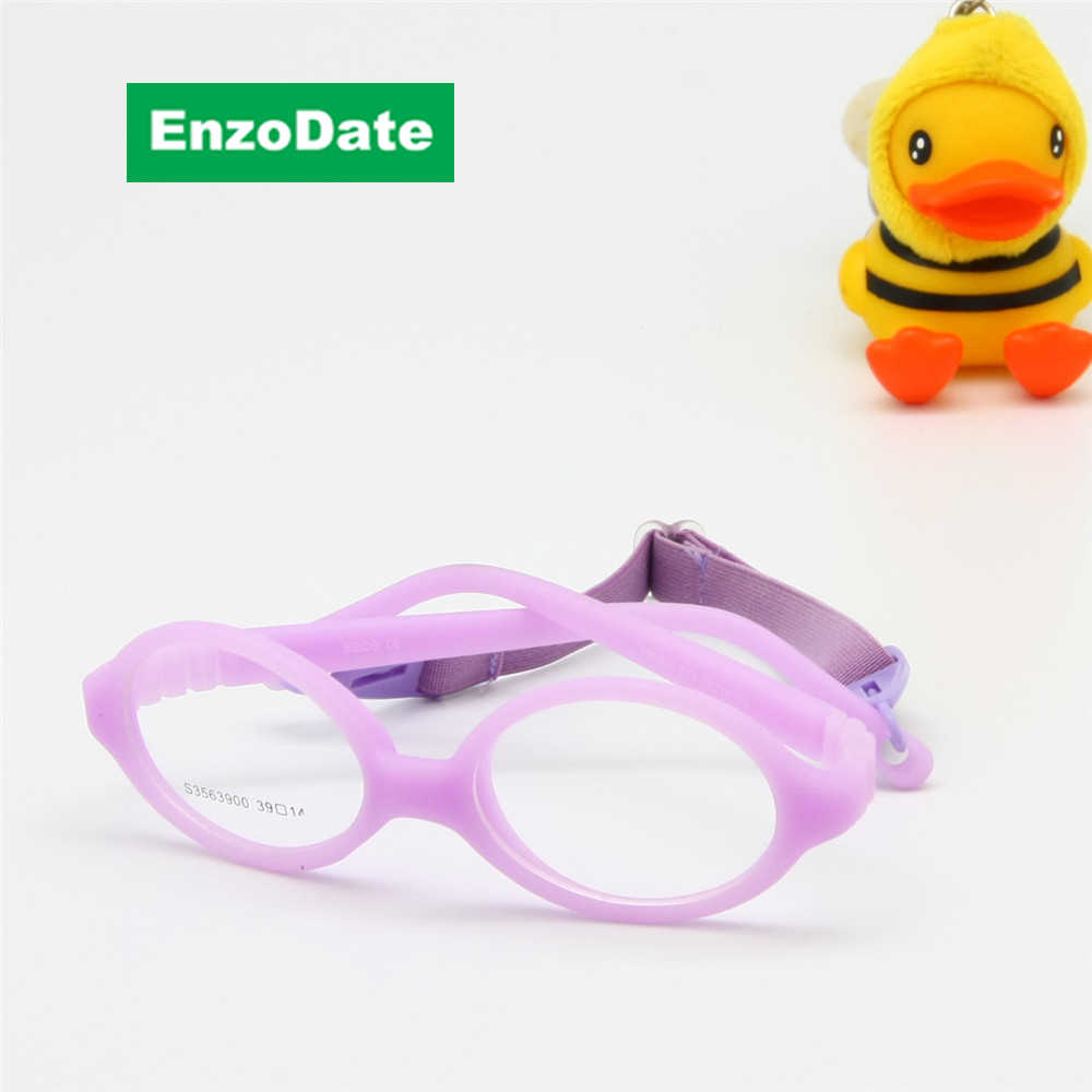Baby Optical Glasses with Strap Size 39/14 One-piece No Screw Bendable, Silicone Infant Toddler's Children Glasses Frame & Cord