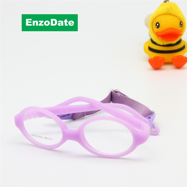 401934130 Baby Optical Glasses with Strap Size 39/14 One-piece No Screw Bendable,  Silicone Infant Toddler's Children Glasses Frame & Cord