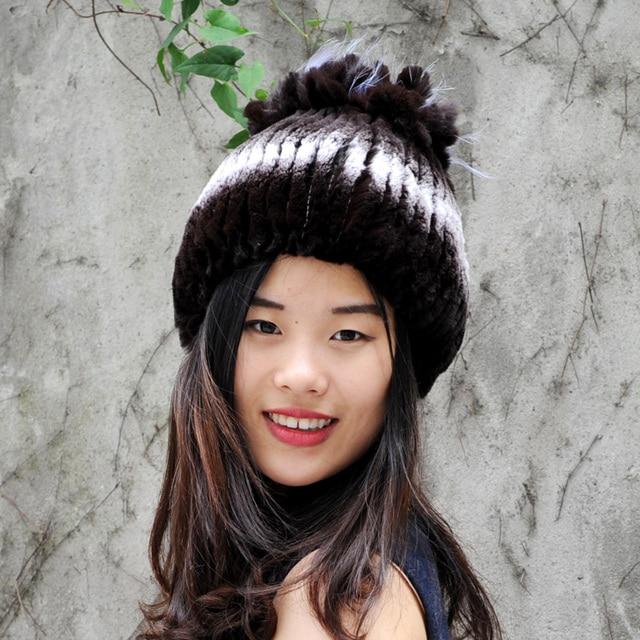 53ec78fabef CX-C-115G 2017 Knitted genuine REX rabbit fur hat women winter warmer cap  headgear headdress Wholesale