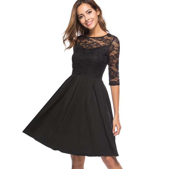 26ab58c11d3 Sexy Lace Women Dress Illusion Sleeves Fit and Flare Robe O Neck Black  Cocktials Party Vestidos Casual Midi Summer Dresses 2018